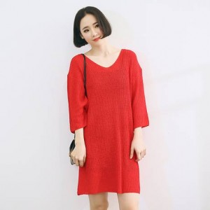 Autumn-Dress-2015-Korean-Casual-Brief-V-Neck-Three-Quarter-Sleeve-Knitted-Dress-Red-Dress-Color